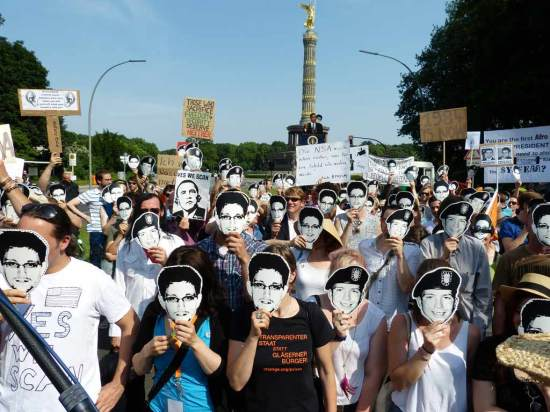 Edward Snowden Berlin 2013 PRISM Demo
