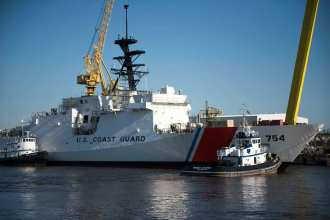 National security cutter James afloat