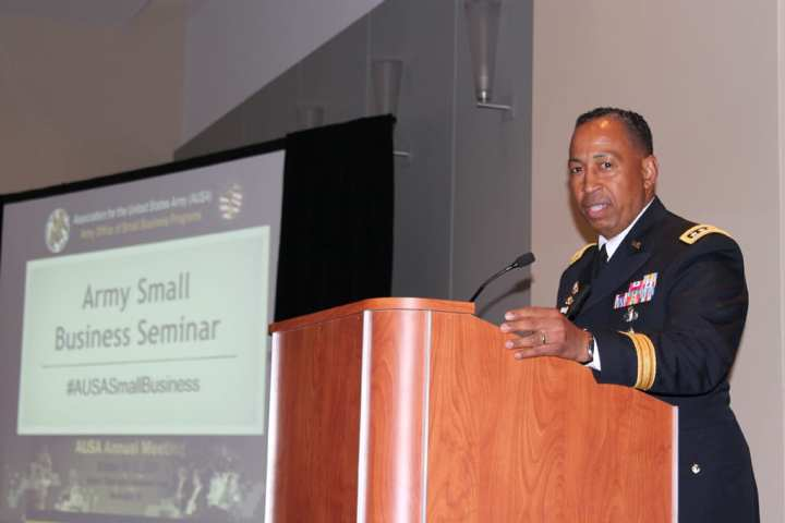 Gen. Dennis L. Via, AMC commander, at the Army Small Business Seminar at the 2014 AUSA Annual Meeting, Oct. 14, 2014. U.S. Army Office of Small Business Programs photo