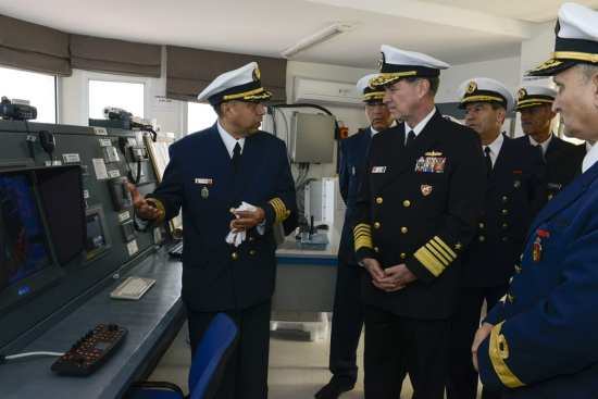 Adm. Mark Ferguson, right, commander of U.S. Naval Forces Europe-Africa, along with members of the Royal Moroccan navy, tours the Moroccan coastal radar site on Ksar Sghir Naval Base, Jan. 15, 2015. Ferguson visited Morocco to build on the enduring partnership the U.S. Navy has with the Royal Moroccan navy and discusses mutual maritime security issues with his counterparts. U.S. Navy photo by Mass Communication Specialist 2nd Class Corey Hensley
