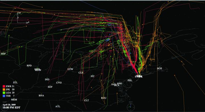 A FACET graphic depicting air traffic from given airports. Making air travel safer and more efficient even as demand grows is one of the NASA Aeronautics Research Mission Directorate's Strategic Thrusts. NASA image