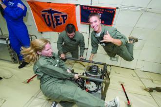 Research assistants in the Center for Space Exploration Technology Research (cSETR) at the University of Texas at El Paso (UTEP) experience near weightlessness during a June 2011 NASA microgravity flight. Having participated in multiple microgravity flights, UTEP students are able to conduct experiments that simulate lunar gravitation, allowing valuable insight into behavior and characterization of such things as combustion processes, exothermic welding, and other technical areas. NASA image