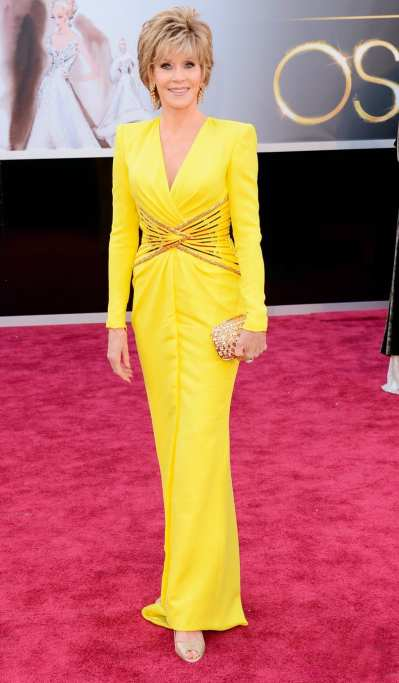 Oscar 2013: El look de Jane Fonda, la mujer de amarillo