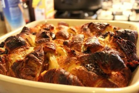 Chocolate, Banana Croissant Bread & Butter Pudding cooked