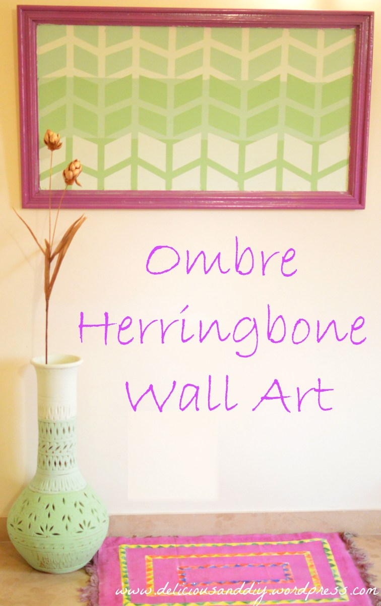 Ombre Herringbone Wall Art & Earthen Vase