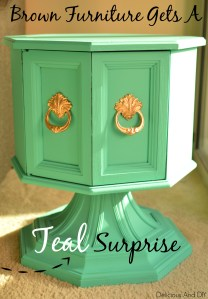 Brown Furniture Gets  A Teal Surprise- Delicious And DIY