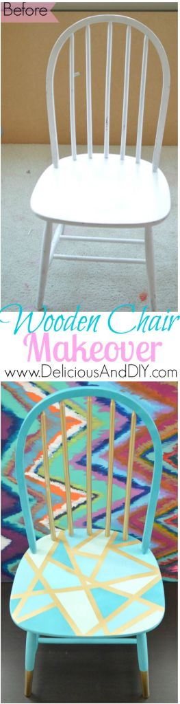 Wooden Chair Makeover- Delicious And DIY
