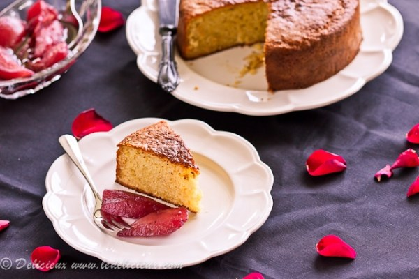 Yogurt Cake with Sangria Poached Pears