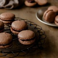 Chocolate Macarons with dark chocolate ganache