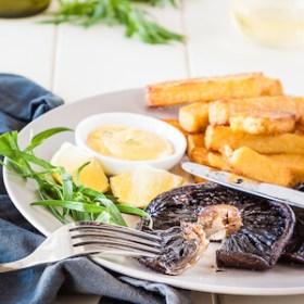 Portobello Mushroom Steak with Polenta Chips and Bearnaise Sauce | DeliciousEveryday.com