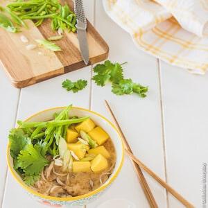 Soba Miso Soup with Chickpea Tofu recipe - vegan  DeliciousEveryday.com