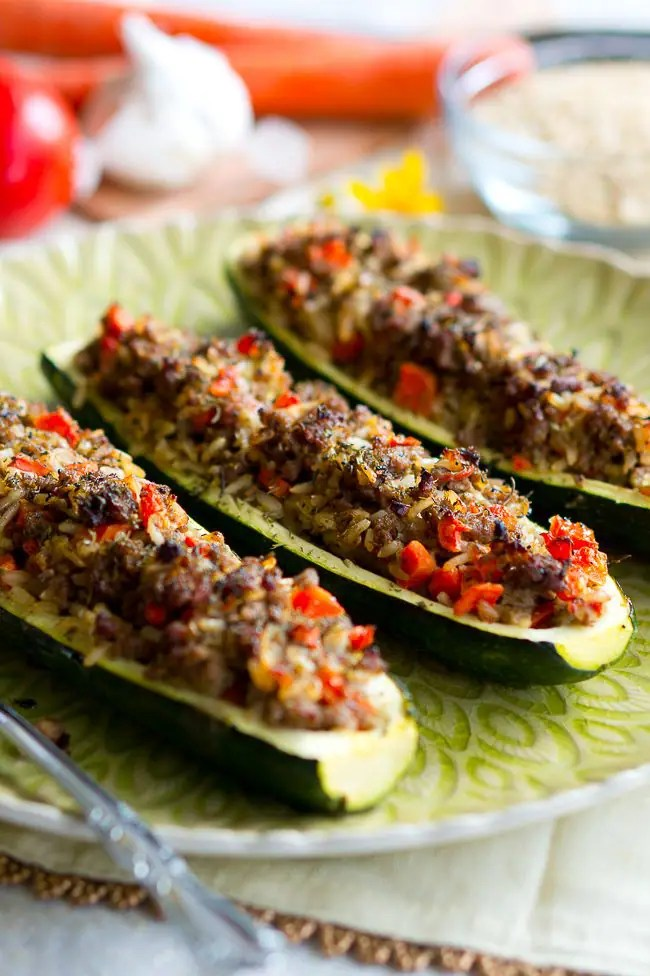 Stuffed Zucchini Boats with Garlic Sauce - Delicious Meets Healthy