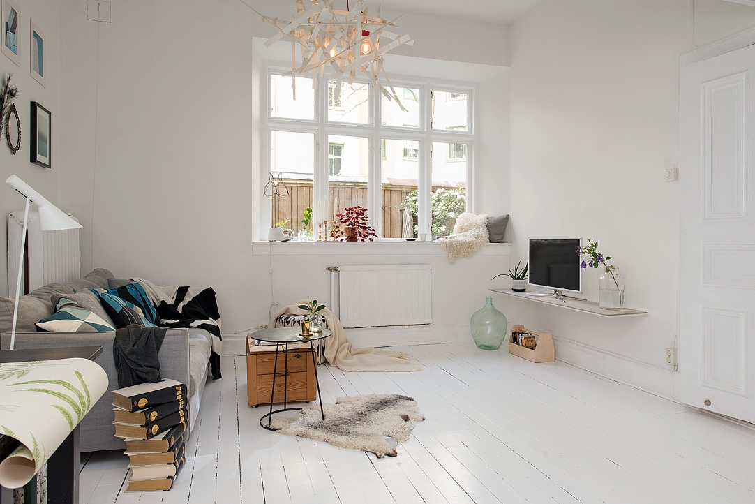 Ingeniosa distribuci n en 38 m blog decoraci n estilo n rdico delikatissen Distribucion piso pequeno