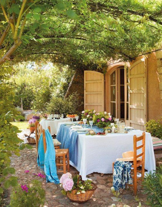 muebles de jardín mesas de verano menaje manteles estilo nórdico