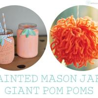 Painted Mason Jar + Giant Poms : Garden Party