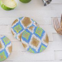 Easy DIY Ikat Cork Coasters