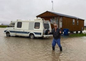 Musician Deak Harp at Shacksdale in Clarksdale during Sunflower River Flood of 2016