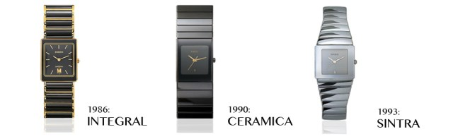 As early as 1986, beginning with the Integral, we start to witness the type of hyper-clean, minimalist aesthetic and integrated case-bracelet construction that Rado would become famous for.