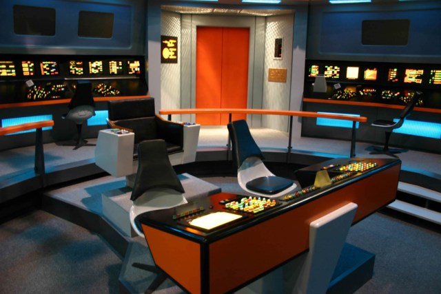 In smart devices following skeuomorphic principles, the toggles and buttons of Kirk's Enterprise would be faithfully replicated to mimic the look and feel of the controls.