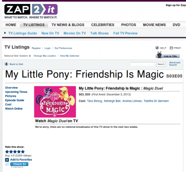 Zap2it screenshot