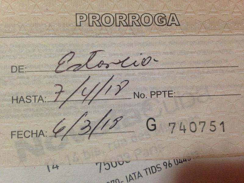Prolongation Visa Cuba