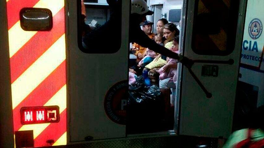 evacuacion del madres e hijos