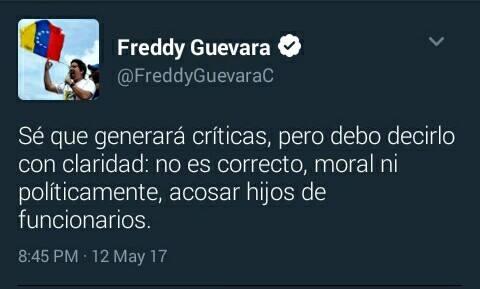 Así trinó en Twitter el diputado Freddy Guevara al percatarse de los peligros de promover el odio