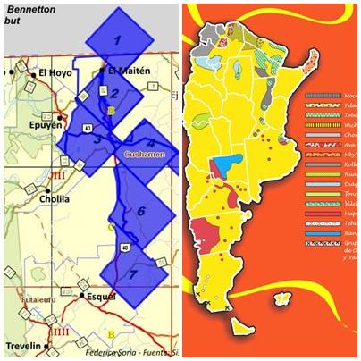 1 El mapa de la izq. muestra en azul las tierras de Benetton, el de la derecha en rojo, en la provincia de Chubut, la de los mapuches, coincidentes.
