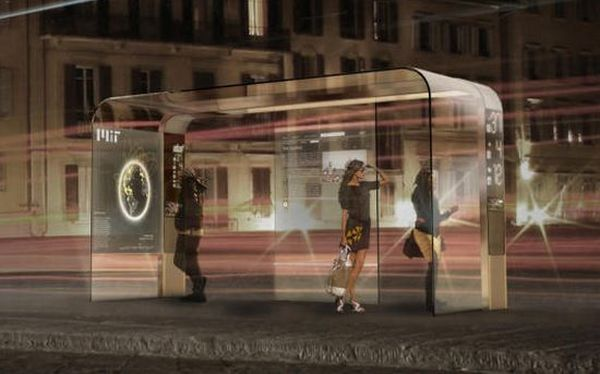 Solar-powered bus stop