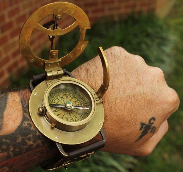 Steampunk Wrist Compass and Sundial