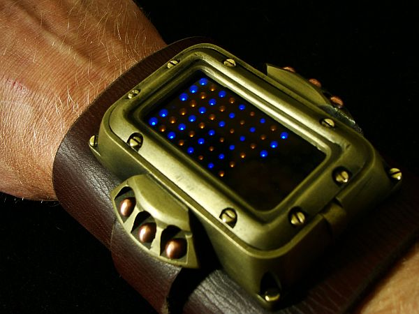 Steampunk wrist cuff with watch
