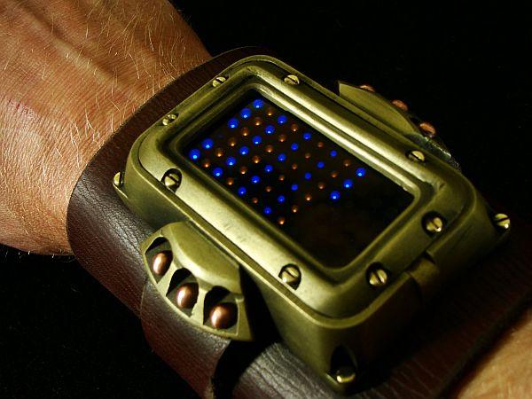 Steampunk wrist cuff with watch