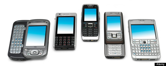 5 mobile phones viewed from angle. Image shot 2008. Exact date unknown.