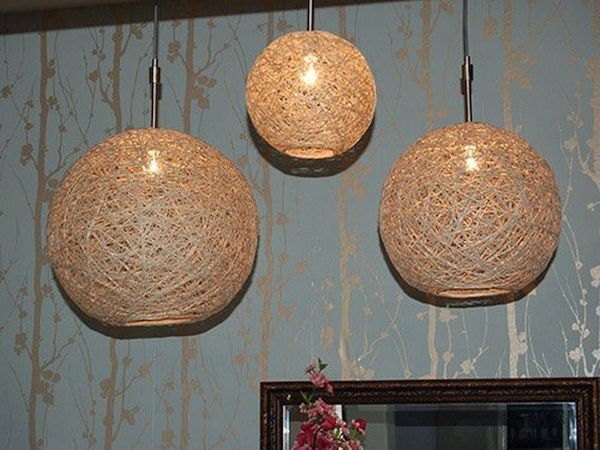 Hemp-string pendant lights