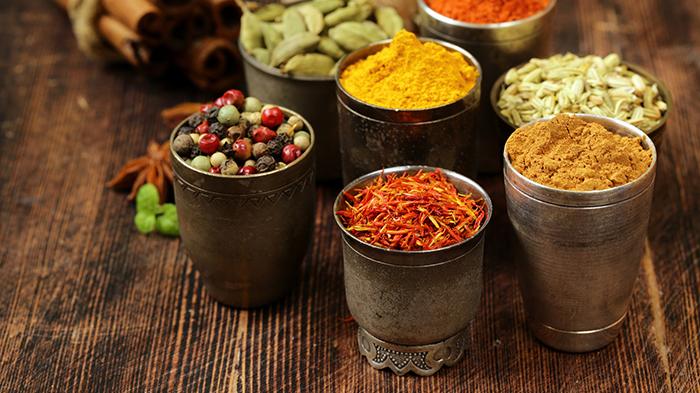 variety of spices (saffron, paprika, pepper, fennel, cinnamon, t
