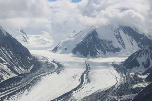 Looking up the glaciers as two join with medial moraine between