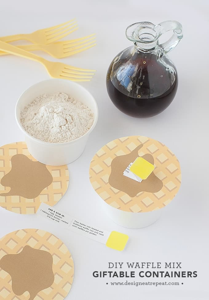 "DIY Waffle Mix | Includes link to the printable ""Waffle Lids"" so you can gift in style!"