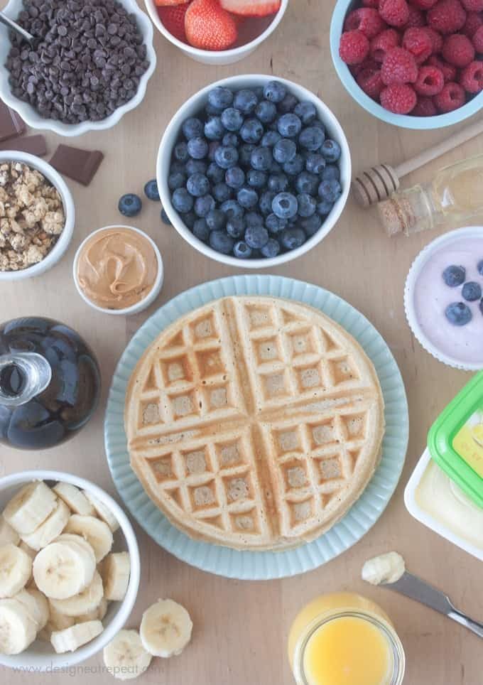 Homemade Waffles made with a mix of whole wheat flour, oat flour, and all-purpose flour!