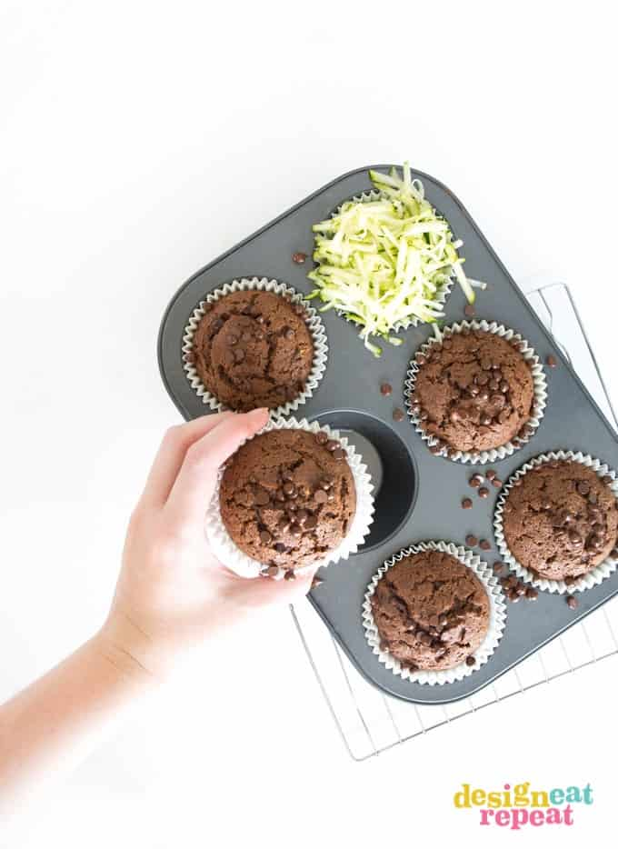 Sneak in your veggies with these subtly sweet Jumbo Double Chocolate Zucchini Muffins! Mix in one bowl and have a warm chocolately treat in less than an hour!