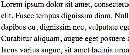The Phrase Lorem Ipsum, set in Times New Roman