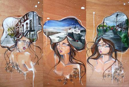 Srie-Les-Dames-de-Montral,-312X24,-acryliqe-sur-bois,-2010.
