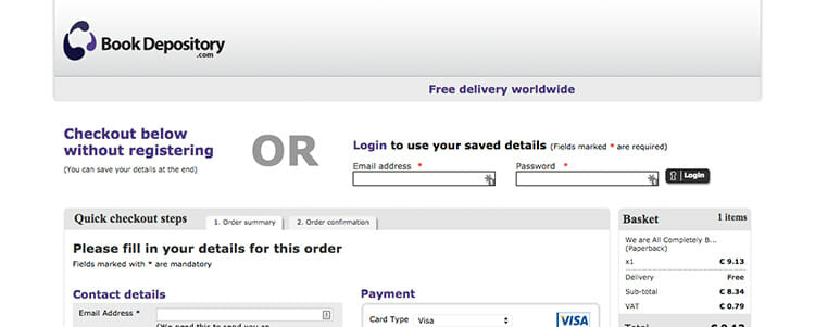 thebookdepository lets you check out without creating an account