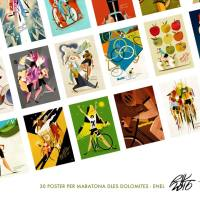 30 manifesti di Riccardo Guasco per la Maratona dles Dolomites