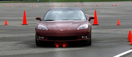 GM Test Drive Detroit Corvette cones