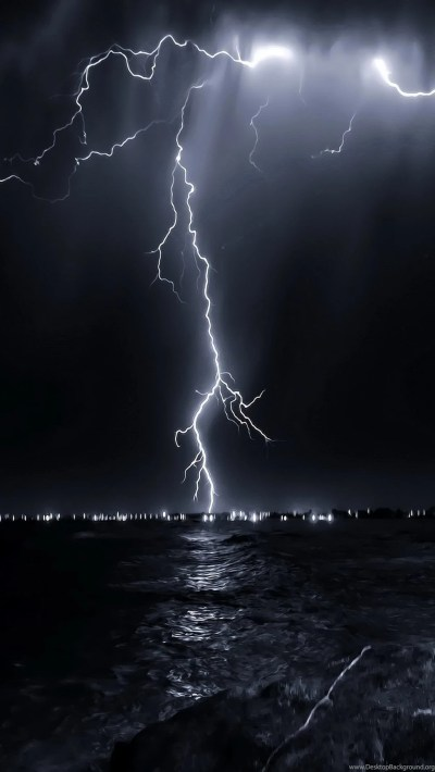 HD wallpapers for iPhone Lightning 1080x1920 nature landscape lightning above sea.jpg Desktop ...