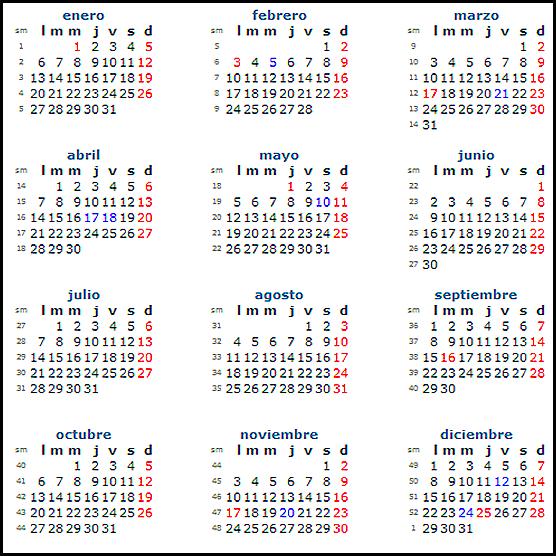 Calendario 2014 Mexico con festivos