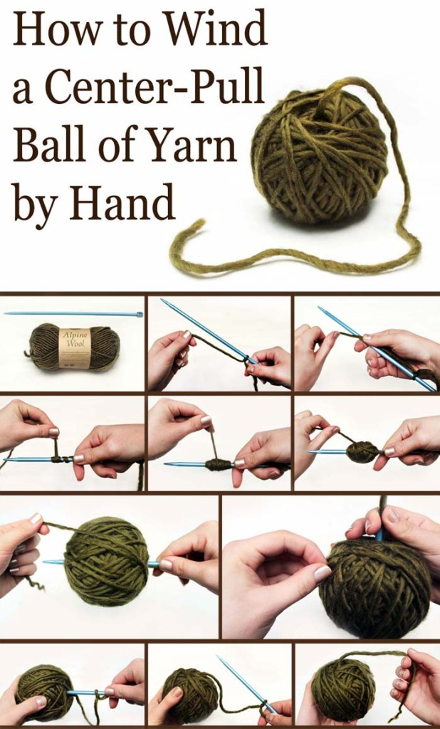 Learn How to Wind a Center Pull Ball By Hand 618x1024 Another Great Technique on How to Make a Center Pull Ball of Yarn