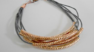 Copper, rose gold and dark blue tube bead multistrand wrap bracelet