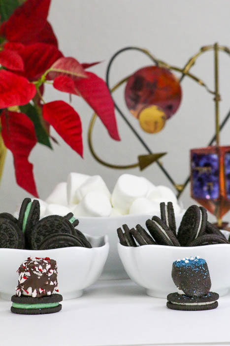 Let's celebrate Hanukkah and Christmas Week with Holiday Marshmallow Oreo Hats. This is a great DIY project to make with the kids! #ChristmasWeek