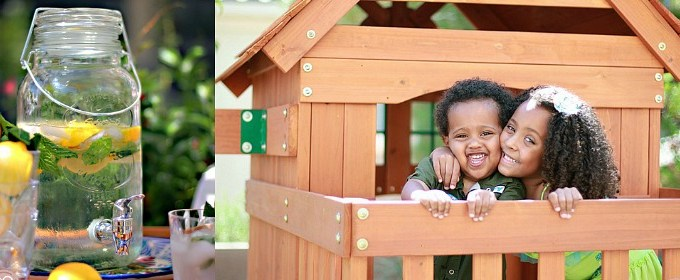 Wooden Swing Set + Infused Water = Easy Outdoor Entertaining